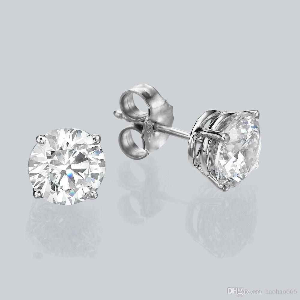 31d606e7815b Compre 0.60 Ct Round Cut Diamante Pendientes 14k Oro Blanco F   Si1  Mejorado A  50.26 Del Haohao666