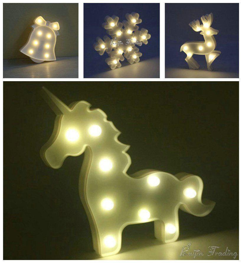 2018 Unicorn Lamp Led Table Night Light Marquee Flamingo Pineapple ...
