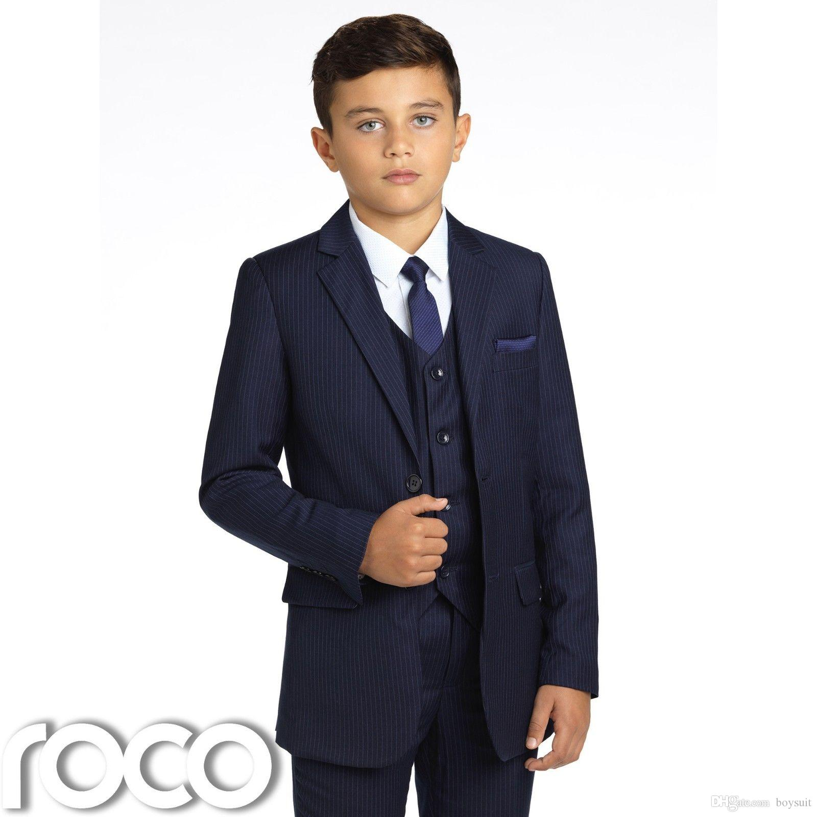Boys Navy Pinstripe Suit Navy Page Boy Suits Boys Wedding Suit 1