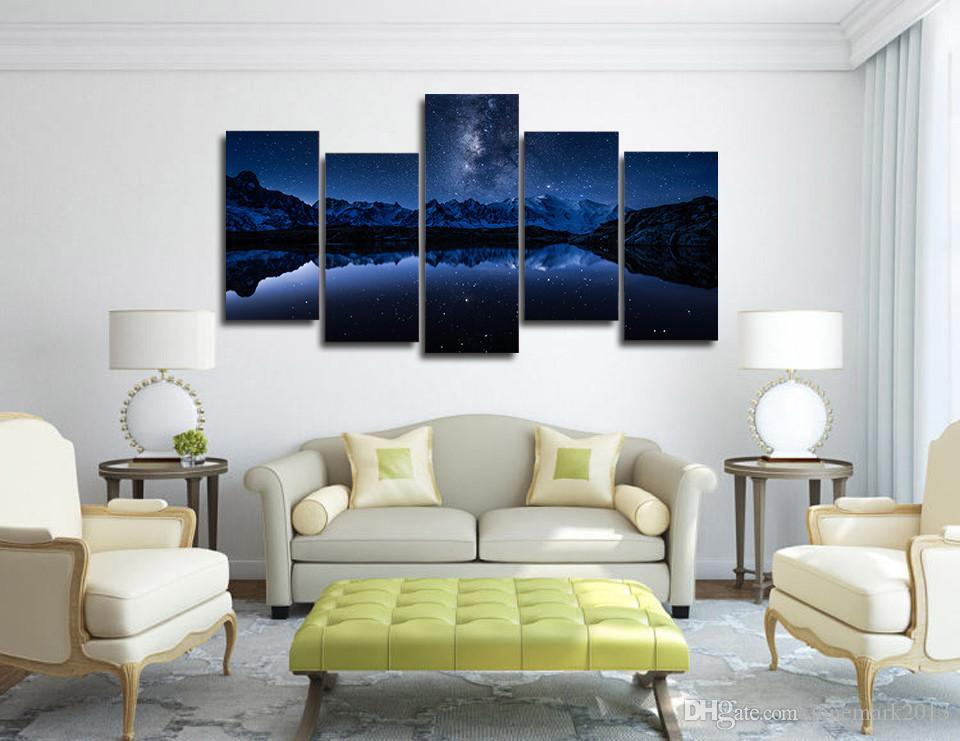 Framed HD Printed Lake Mountain At Night Picture Wall Art Canvas Print Room Decor Poster Canvas Painting Wall