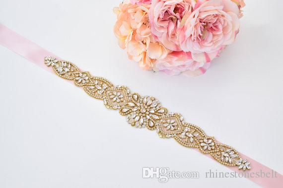 Handgemachte Gold Strass Appliques Hochzeit Gürtel Klarem Kristall Nähen auf Braut Schärpen Brautkleider Schärpen Braut Zubehör T30