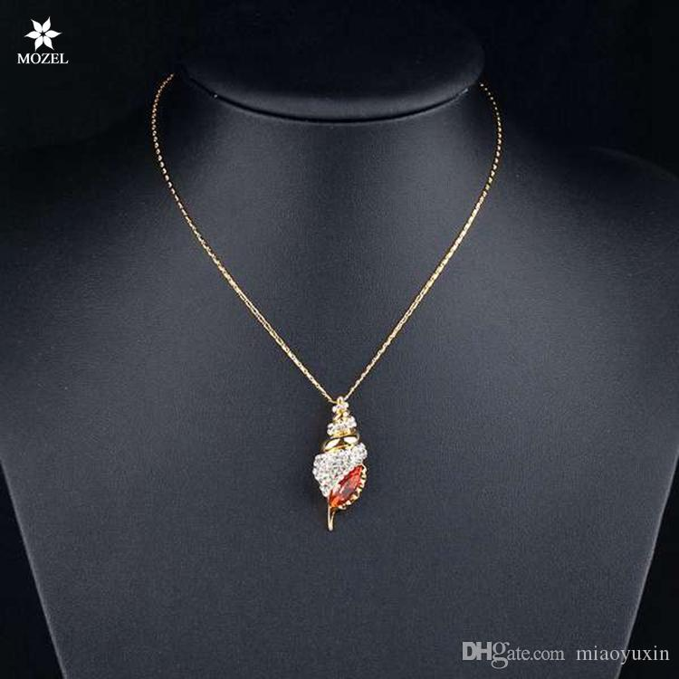 Wholesale MOZEL Swarovski Elements Winkles Design Gold Plated Red Color Stellux Austrian Crystal Paved Pendant Necklace TN0001