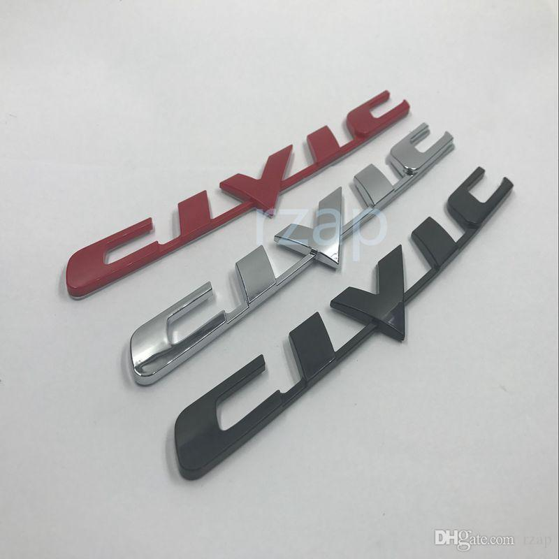 Car Styling D Silver Abs Body Rear Badge Sticker Wing For - Honda civic decal stickers