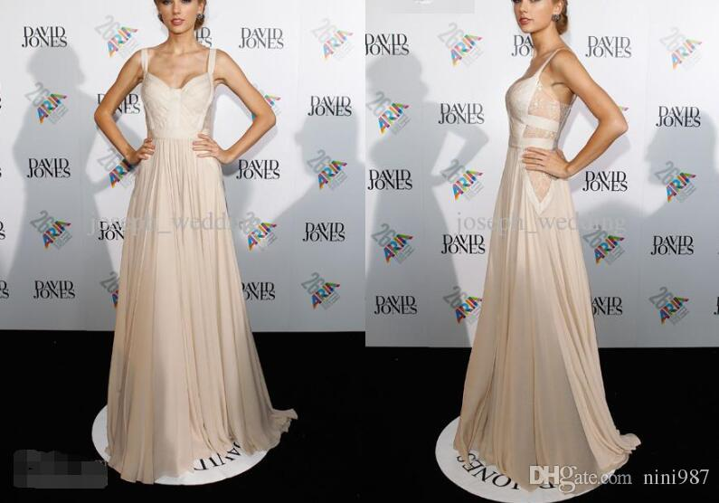 Famous designer spaghetti strap taylor swift elie saab evening dress red carpet evening party gowns Cheap sale