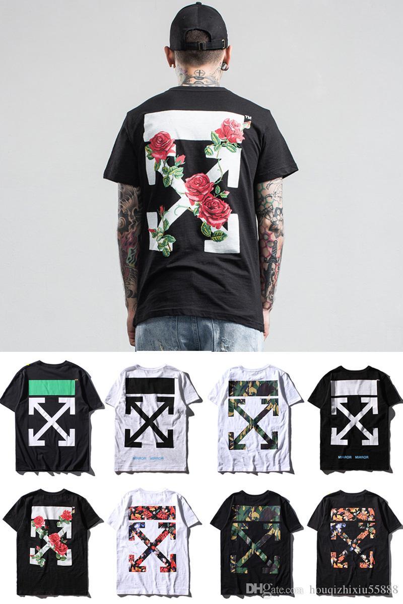T shirt printing at white rose - 2017 Popular Logo Men S Arrow Rose Print Tee Men S Short Sleeve T Shirts Off White C229 Cheap T Shirts Online Biker T Shirts From Houqizhixiu55888