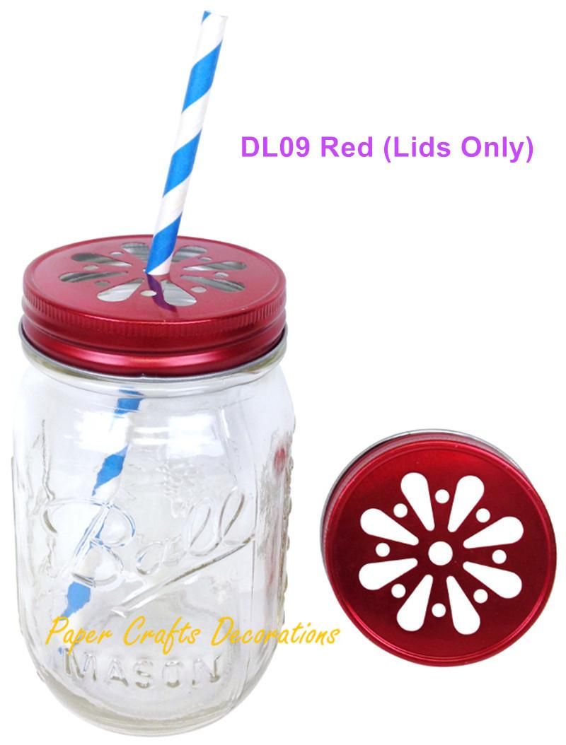 2018 Wholesale Lids Only Red Vintage Daisy Stamped Cut Mason Jar ...