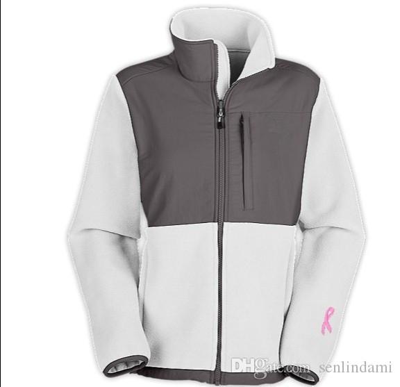 2017 Classic Pink Ribbon Women's Fleece Jackets Sport Outdoor Winter warm Mountaineering Sportswear Balck white outwear