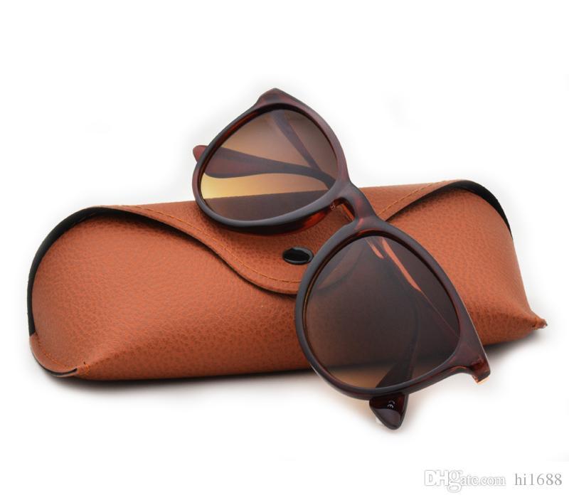 남자 여자를위한 최고 새로운 새로운 색안경 Erika Eyewear 상표 디자이너 태양 안경 매트 표범 Gradient UV400 렌즈 상자 및 상자