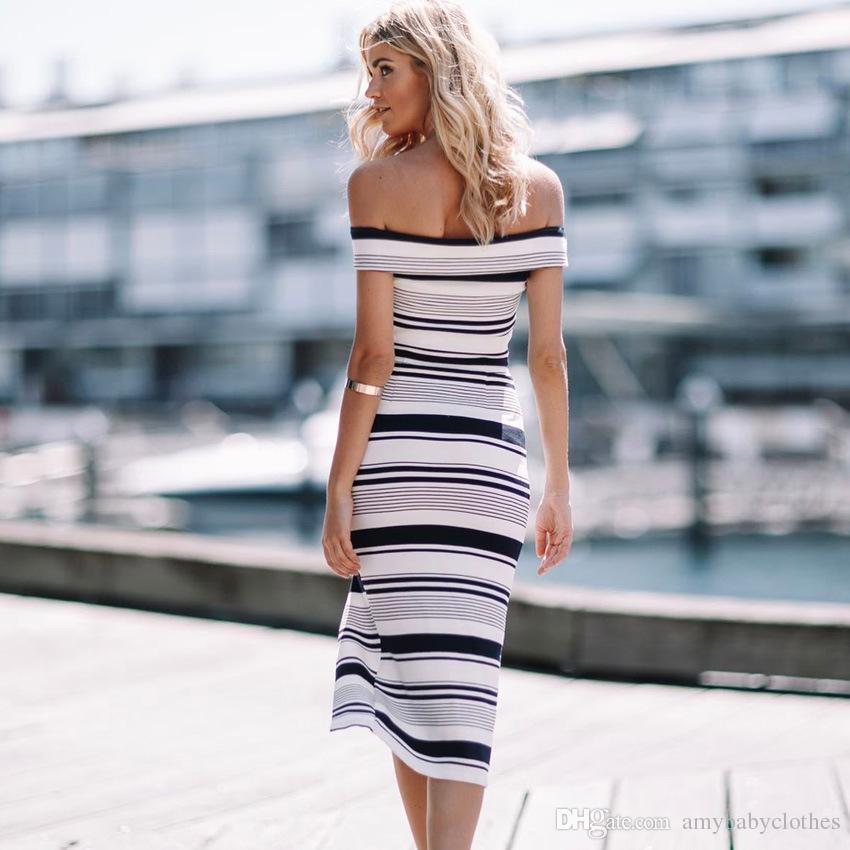 Women Dress of shouler Sexy Stripe Basic Paragraph Word Shoulder Dress Off Shoulder Casual Top Style Long Shirt