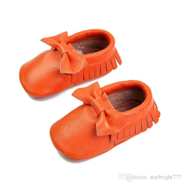 Free DHL Genuine leather tassels Bow moccasins soft leather baby first walkers shoes baby booties toddler shoes Choose freely