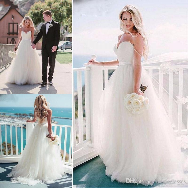 b0c76b0ca2c Discount 2017 New Arrival Simple White Beach Wedding Dresses Real Photos A  Line Spaghetti Straps Appliques Sashes Sweep Train Bridal Gowns Chiffon  Wedding ...
