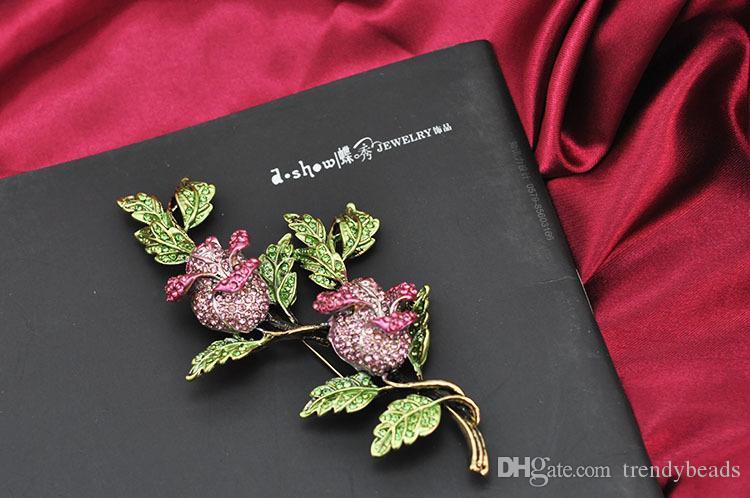 Austrian Crystal Rhinestone Rose Flower Bud Brooch, Rose Brooch, Huge Brooch, Bridal Brooch