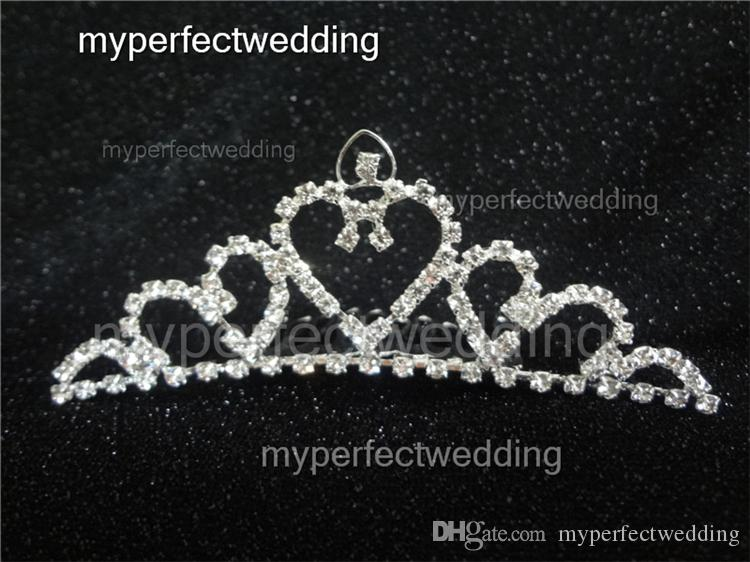 Real Photos Rhinestone Wedding Crown Heart Shape Shiny Tiara Hair Combs Crowns Bridal Hair Accessory Women Factory Best Price
