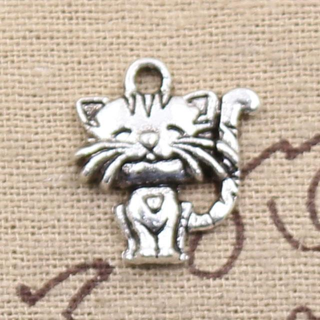 Wholesale 99Cents Charms Smiling Cat 1917mm Antique Making Pendant FitVintage Tibetan SilverDIY Bracelet Necklace Silver Lucky Shower