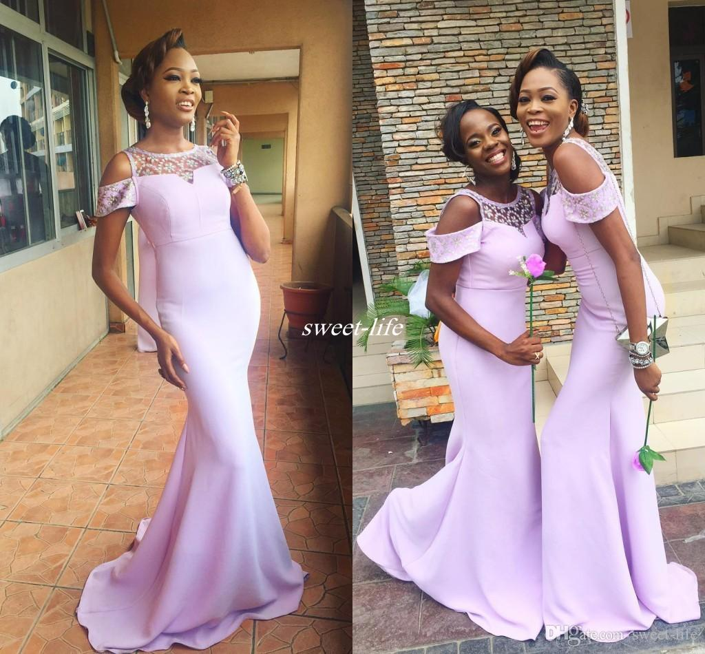 Lavender Mermaid Bridesmaid Dresses 2017 Plus Size Cheap Sheer Neck ...