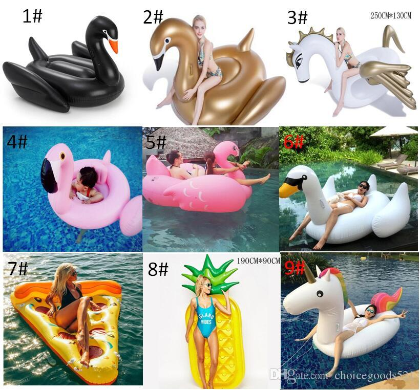190CM Giant Inflatable Flamingo Unicorn Swan Pegasus Pool Toy Swimming Float Swan Cute Ride-On Pool Swim Ring For Summer Holiday Fun Party