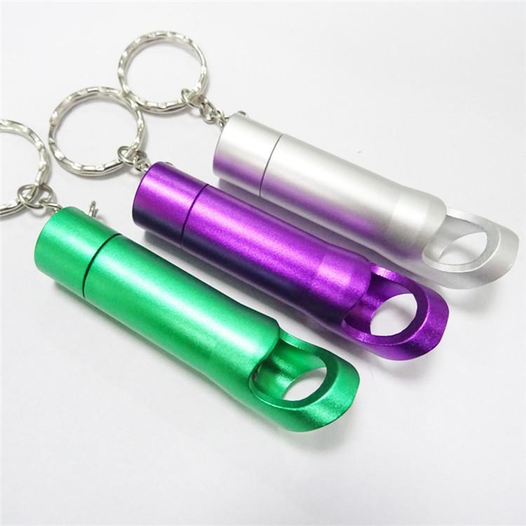 1000 шт./лот быстрая доставка портативный алюминиевого сплава мини открывалка для бутылок с 3 светодиодов фонарик брелок брелок Факел