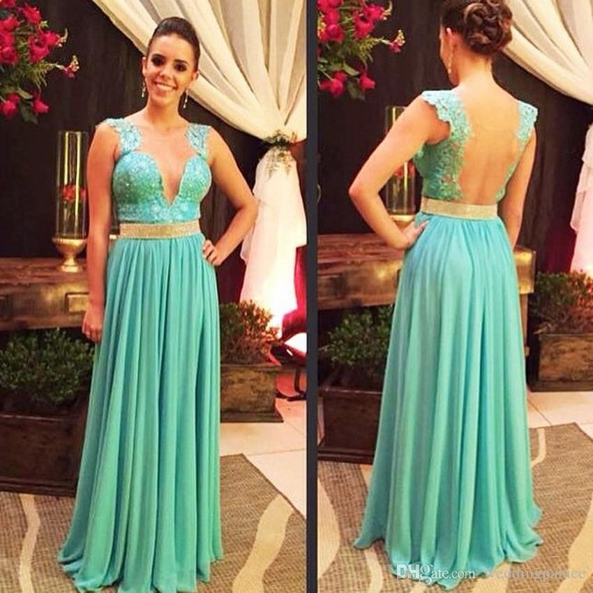 Hot Sale Charming V-neck Blue Long Evening Dresses Beaded Chiffon Satin Backless A-line Formal Evening Gowns Vestido De Noche Prom Dresses