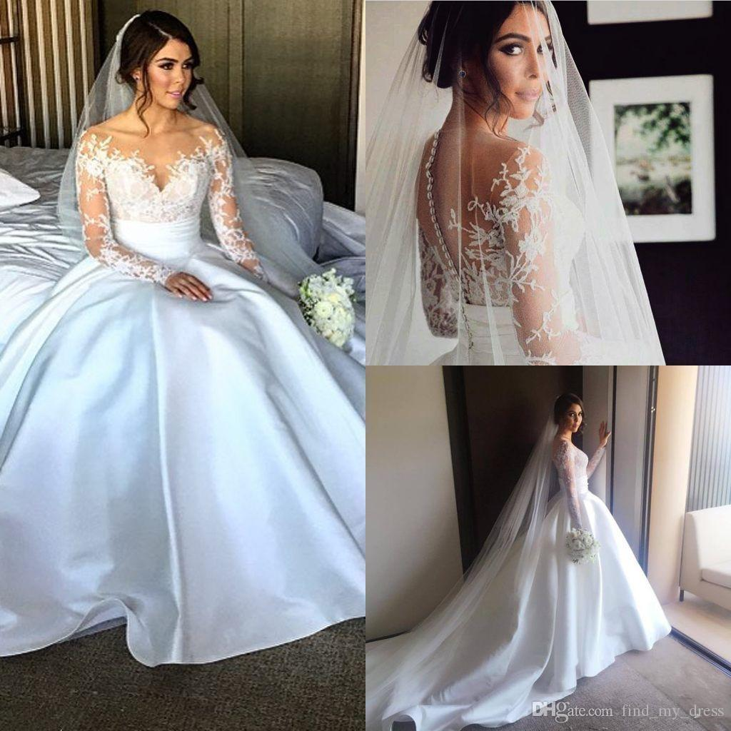 China Long Sleeves Wedding Dress Custom Made Lace Princess: See Through Long Sleeve New Lace Princess Ball Gown