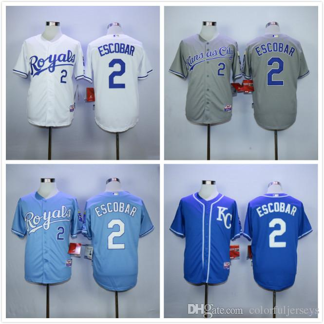new product a0514 cf1bd mens kansas city royals 2 alcides escobar light blue jersey ...