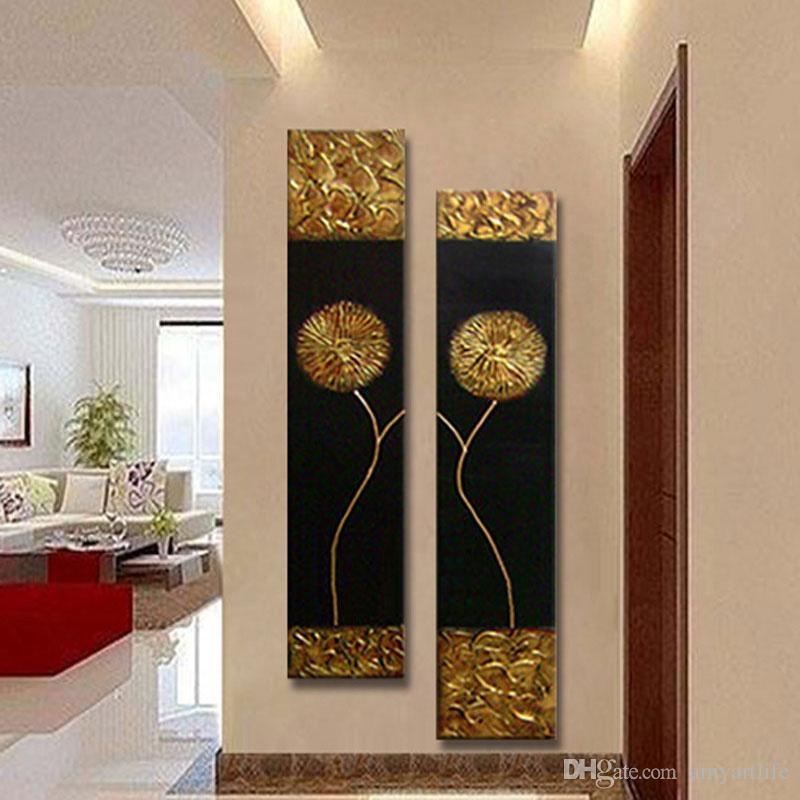 100% hand made canvas oil painting gold flower on black canvas daisy Dandelion wall pictures for Corridor aisle decorative art sets unframe