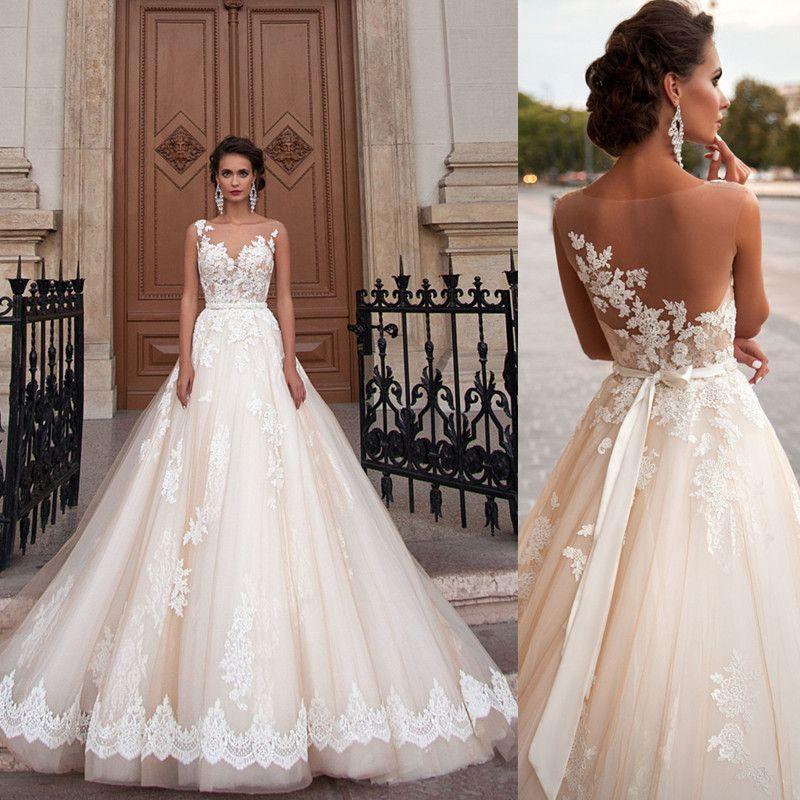 831adff2204ba Illusion Ball Gown Wedding Dress Sheer Back Lace Appliques Light Champagne  Bridal Gown Robe De Mariage Vestido De Noiva Detachable Belt Sash Wedding  Dresses ...