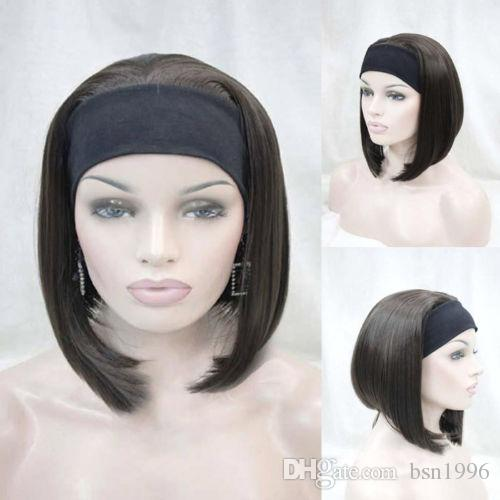 бесплатная доставка красивая довольно синтез милый оранжевый коричневый 3/4 половины парик с повязка короткие прямые синтетические женщины парик