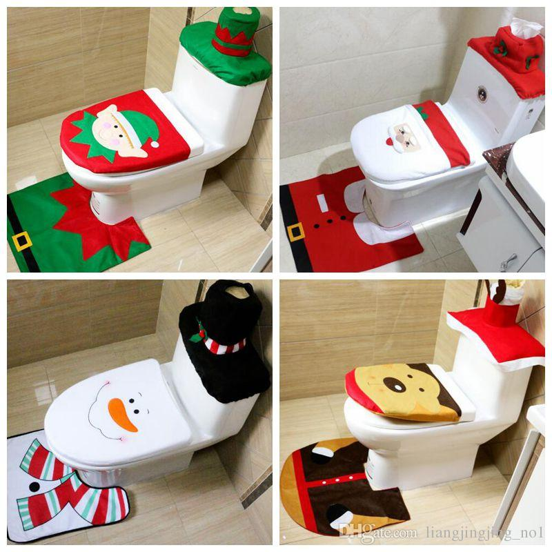 4 Styles Christmas Gift Santa Toilet Seat Cover Rug Bathroom Set Decoration Party Cca7818 Decorations For Sale Cheap