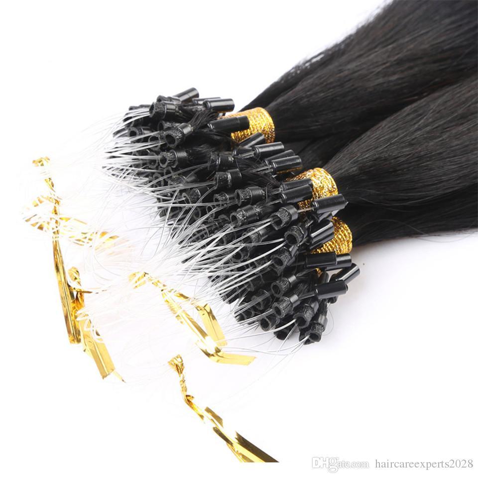 # 1 extensiones de cabello Micro loop doble dibujado micro anillo de extensión del cabello 1g / strand 200strands / virgen micro extensiones de cabello