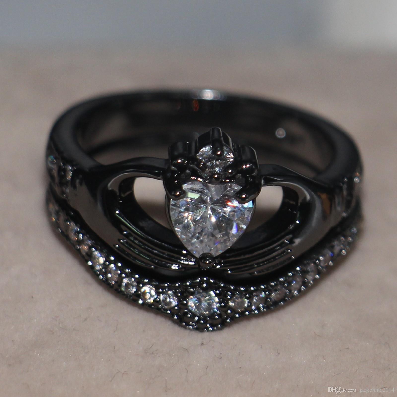 2017 recién llegado de lujo de la venta superior de la joyería única 10kt negro lleno de oro forma del corazón topacio boda de la boda nupcial Claddagh anillo de regalo conjunto SZ 5-11
