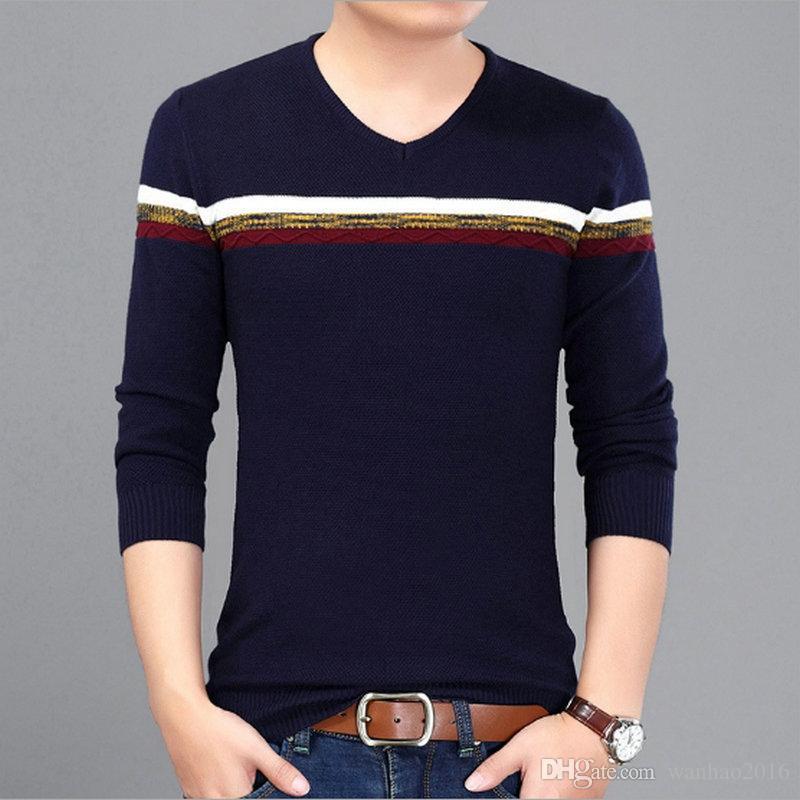 Style mince hommes pull 8 dessins tricot pull élégant rayé jacquard motifs col en v col rond livraison gratuite