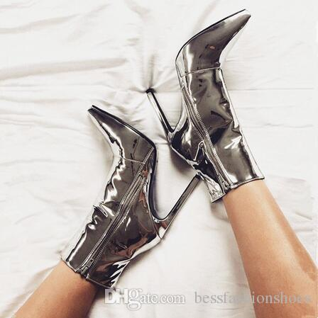 Gold Women Ankle Boots Pointed Toe High Heels Mirror Sliver Patent Leather  Women Pumps Metallic Fashion Stiletto Short Botas Mujer 35 42 Winter Boots  For ... 0ae06485ee2a