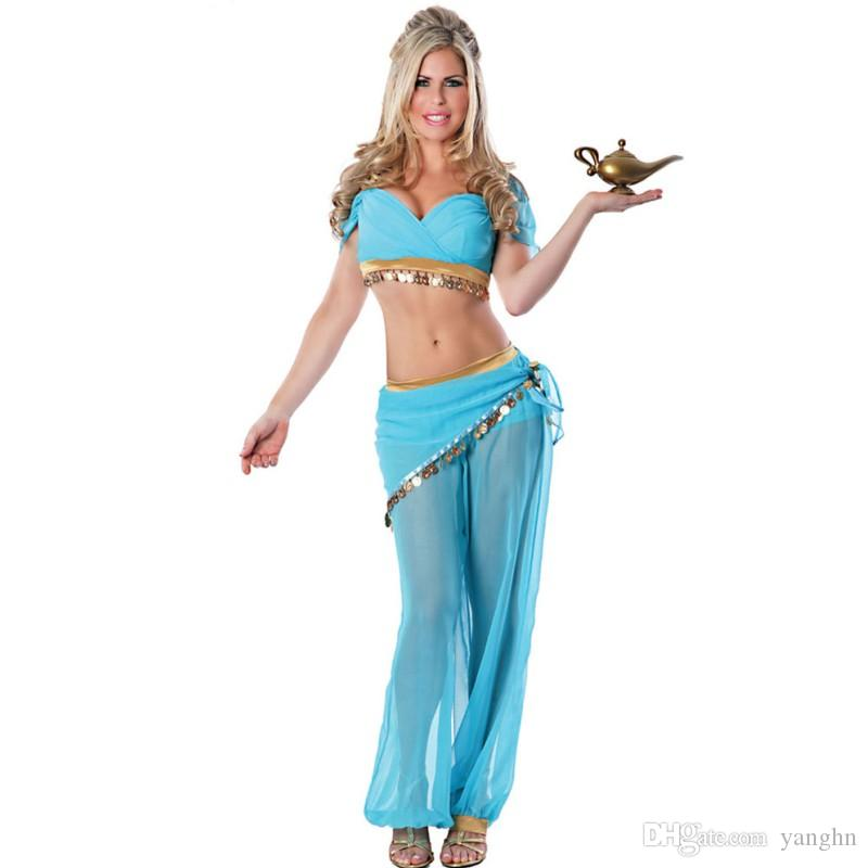 2018 2017 Sexy Costumes Women For Adult Womens Jasmine Or Belly Dancer Arabian Nights Costume Princess Genie Halloween Costume Free Size V87480 From Yanghn ...  sc 1 st  DHgate.com & 2018 2017 Sexy Costumes Women For Adult Womens Jasmine Or Belly ...