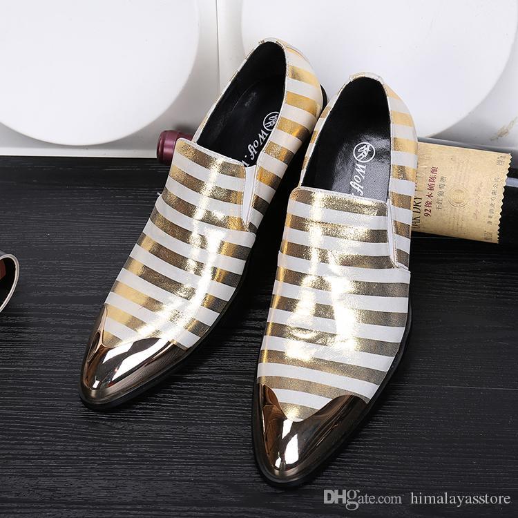 Cuir véritable fait main en métal pointe pointes bout pointu glisser sur des chaussures de mariage en robe formelle style italien Party Berdy chaussures