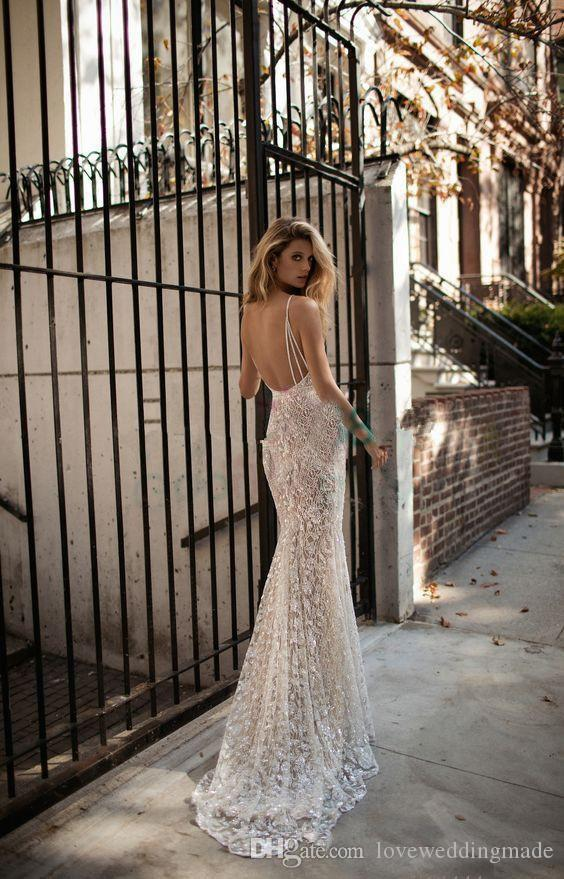 Berta 2017 Bling Bling Crystal Mermaid Wedding Dresses Sexy Backless V Neck Robe de Mariage Custom Bridal Gowns Full Lace Beads