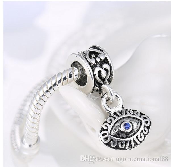 La venta al por mayor 925 plateó el ojo malvado azul de los granos del encanto europeo de la joyería apta de Diy de la pulsera de Pandora de las mujeres del grano pendiente de Turquía