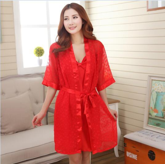 675867dad4 Wholesale- Summer Style Silk Kimono Robe Bathrobe Women Satin Robe ...