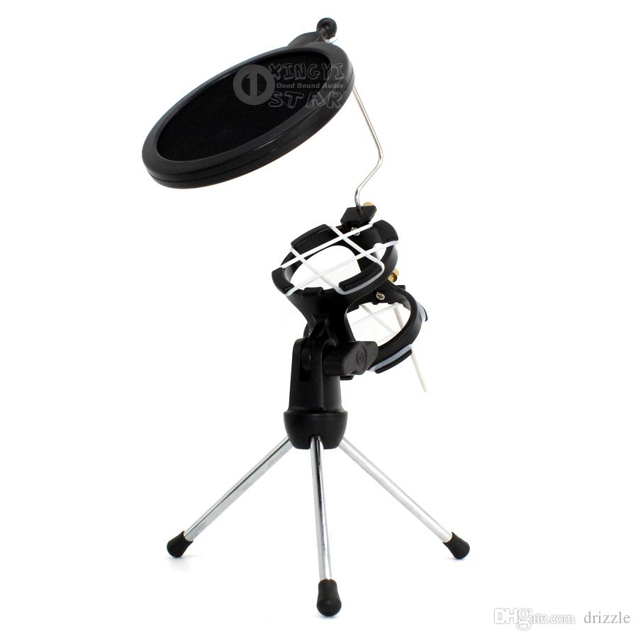 Desktop Tripod Folding Dynamic Microphone Stand Windscreen Pop Filter Holder Mike Clamp Shock Mount For Computer Video Recording