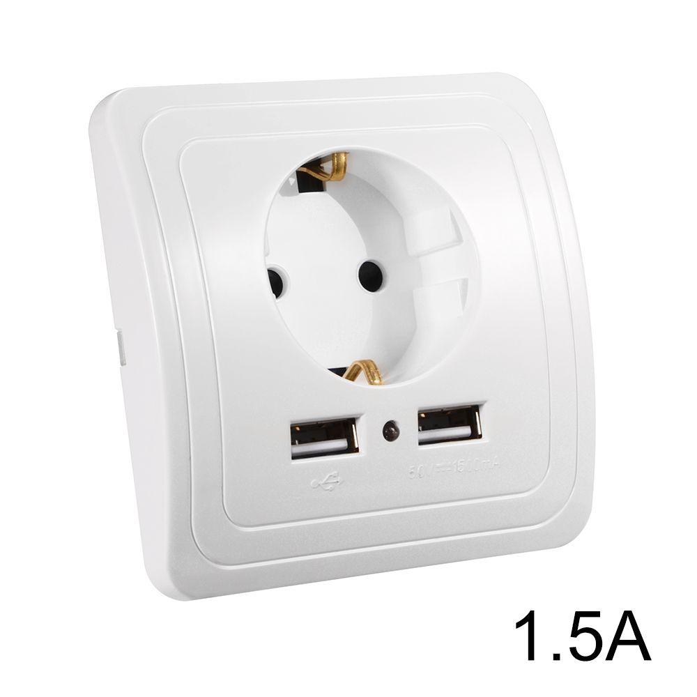 EU Plug Socket Power Outlet Panel Dual USB Port 15A Wall Charger Adapter HS916 High Quality Eu Pl China Us Cheap