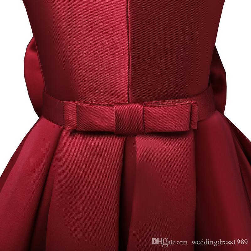 Ücretsiz kargo Sıcak satış Çiçek Kız Communion Elbise A-line saten elbiseler sevimli yay A-line kız elbise