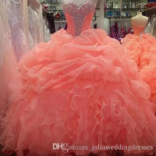 2018 Sexy Cheap Ball Gown Quinceanera Dresses with Crystals Beaded Sequin Sweet 16 Gown Floor Length vestido para debutante BM74