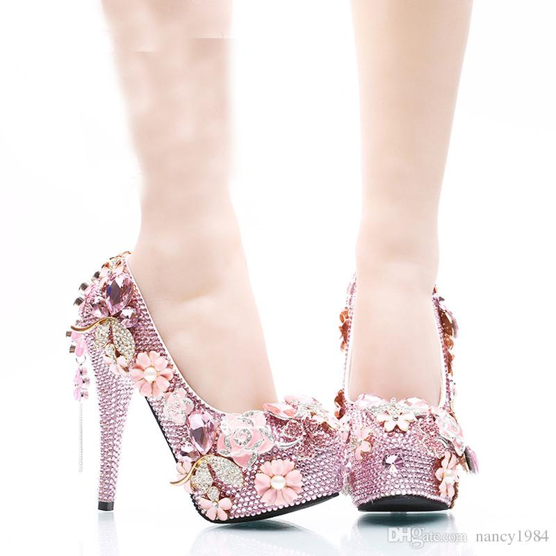 Lujosos zapatos de boda de diamantes de imitación de color rosa nupcial tacones altos plataformas cristal Cinderella fiesta de baile bombas más el tamaño de las mujeres bombas