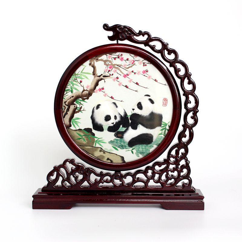 Chengdu Shu Brocade Chuan ricamo biadesivo ricamo artigianato ornamenti ornamenti regali souvenir in stile cinese