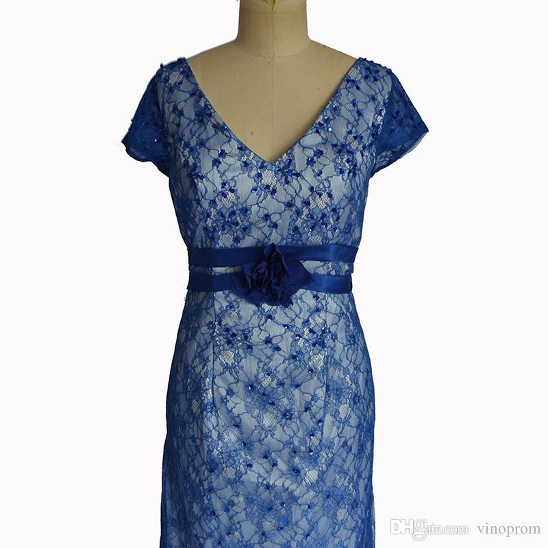 Vestidos De Festa Guaina scollo a V maniche corte Longo madre della sposa abiti da cerimonia abito da ballo formale