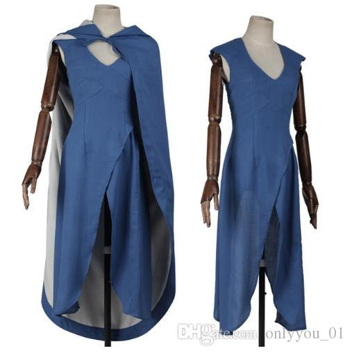 Game Of Thrones Targaryen Daenerys Cosplay Costume The Unburnt Mother Of Dragons Costume Blue Dress Female Halloween Adult Women Halloween Costumes For Five ...  sc 1 st  DHgate.com & Game Of Thrones Targaryen Daenerys Cosplay Costume The Unburnt ...