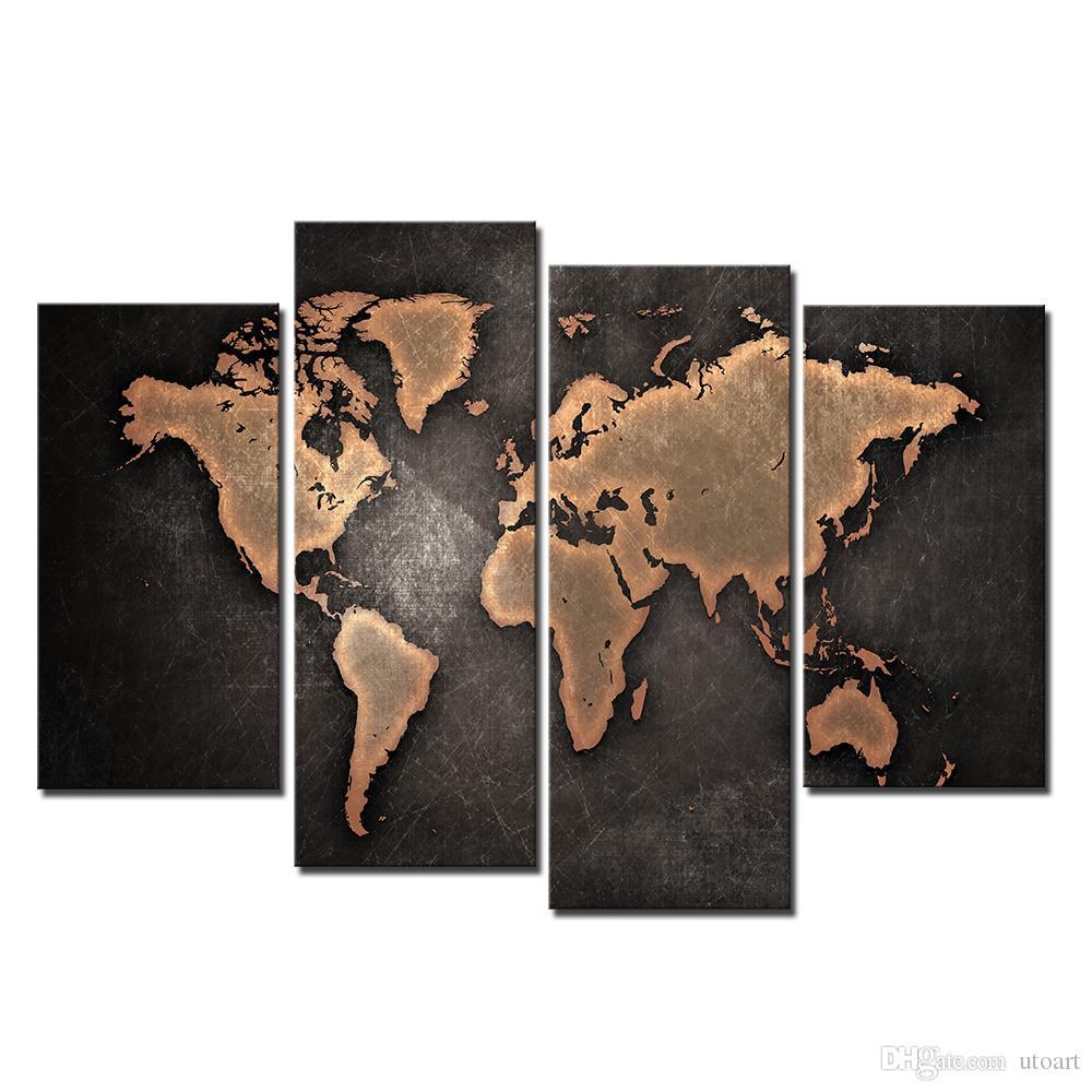 2017 wall decor canvas painting canvas art brown world map digital