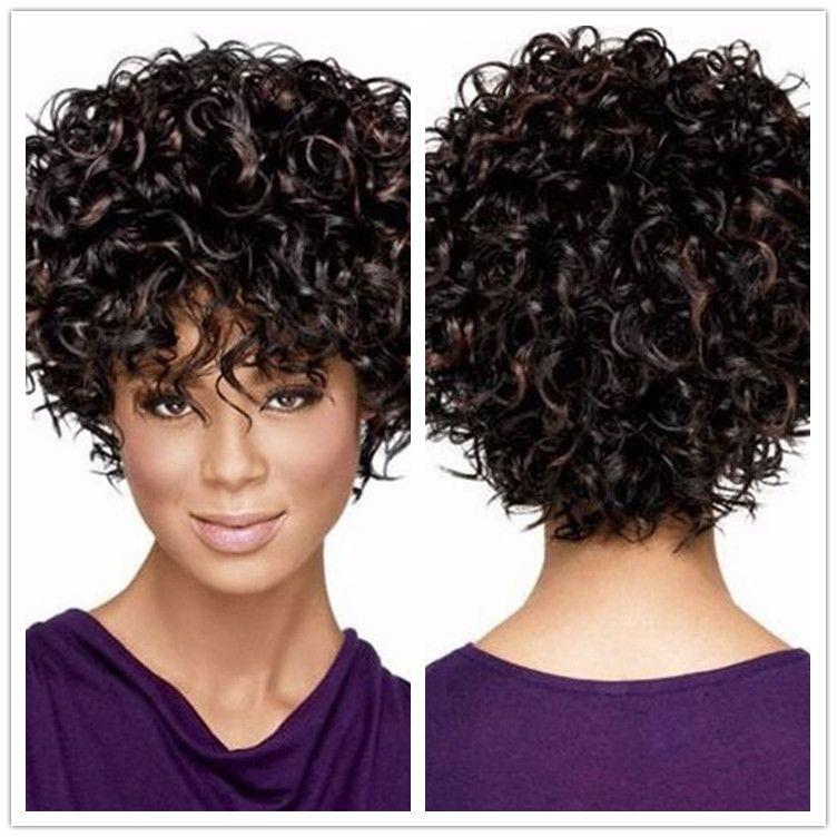 XT798 Popular Natural Preto Beyonce's Hairstyle Mulheres Cabelo levemente Onda 14 polegada Curto Perucas Encaracoladas lado Total Franja cabelo ondulado Sintético Médio