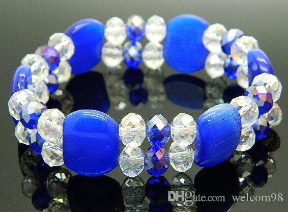 10st / mix färger opal facetted ctystal pärlor armband pärlstav strängar för hantverk smycken gåva cr09