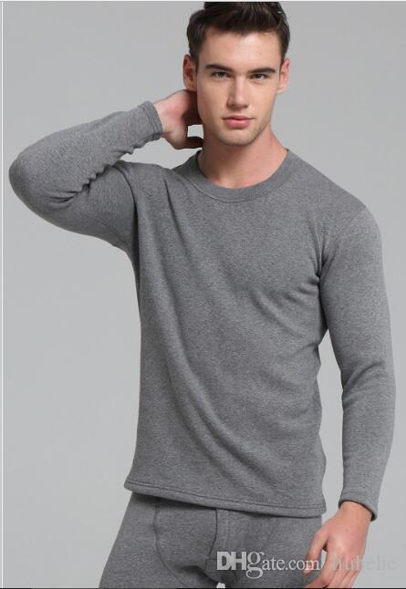 The new autumn and winter men 's thermal underwear plus cashmere thick round collar cotton in the elderly warm suit