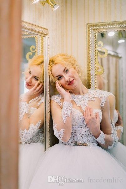 New Designer Ball Gown Princess Dress da sposa o collo Illusione manica lunga in pizzo Abiti da sposa senza backless su misura da Cina
